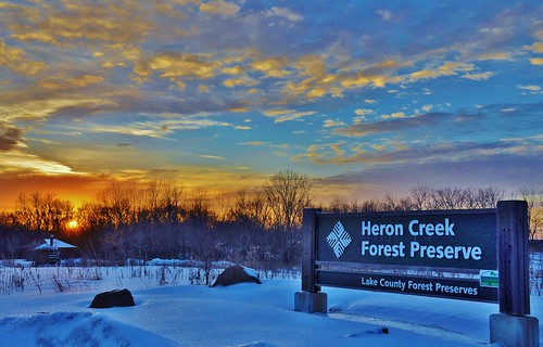 winter sunset usa snow sign clouds evening us illinois nikon entrance telephoto nikkor lakecounty 18200mm d90 stevelamb heroncreek heroncreekforestpreserve oldmchenryroad