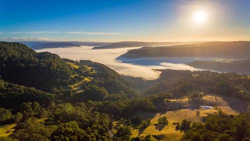 mist sunrise au australia hills fields newsouthwales farms beaumont kangaroovalley drone