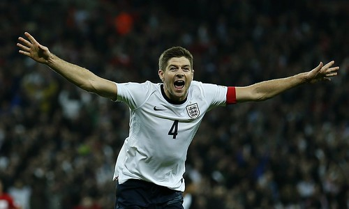 England captain Gerrard celebrates his goal in the World Cup qualifier against Poland at Wembley