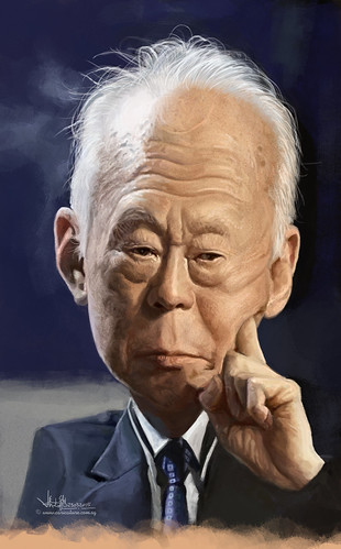 digital caricature painting of Lee Kuan Yew