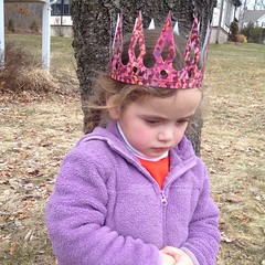 My forlorn #birthday #princess. #grumpy #birthdaygirl got a #crown at #school today