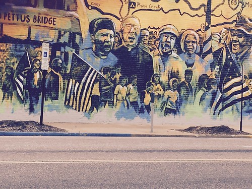 Mural commemorating Selma Bridge Crossing