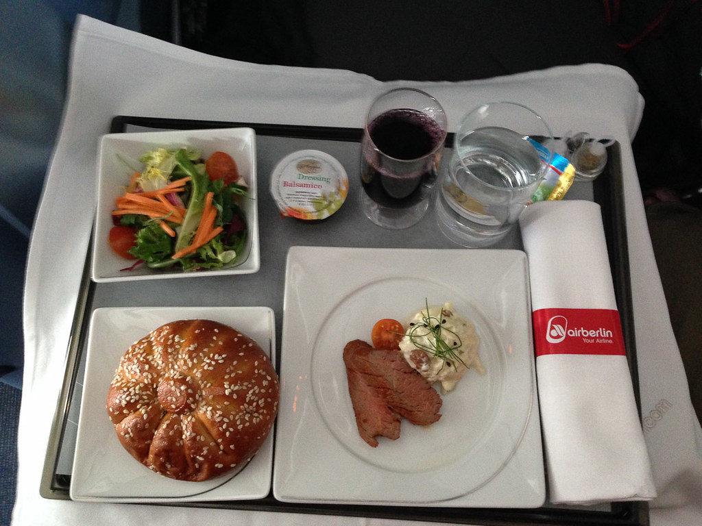 Meal service on Air Berlin Business Class - appetizer