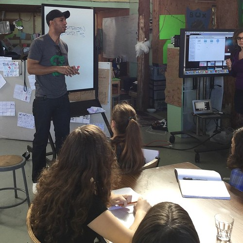 Sirron Norris, the muralist and visual creator of Bob's Burgers talks to the kids about animation. Bob's Burgers was dreamed up only a block away from our school!