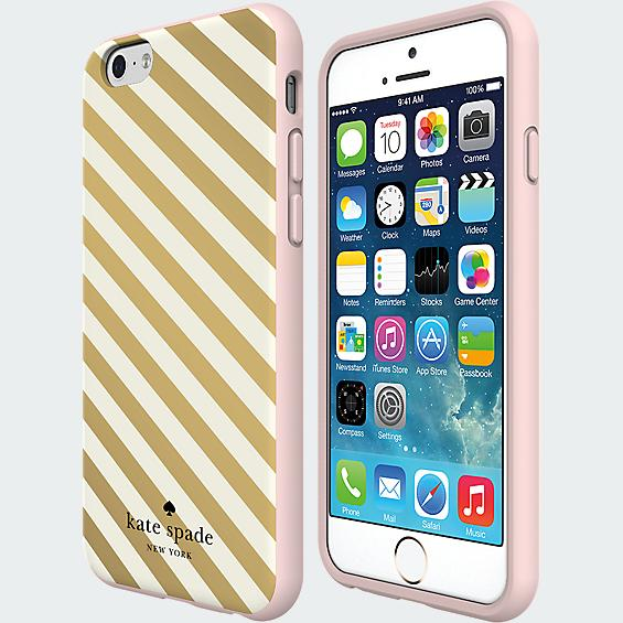 Kate Spade iPhone 6 cover in gold stripes