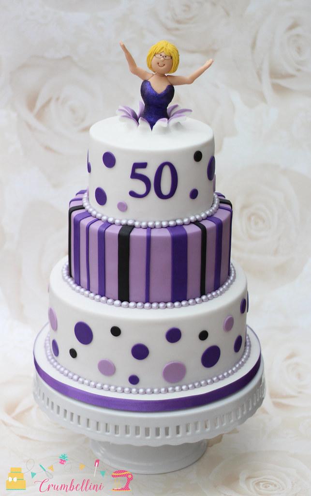 Purple 50th Tiered Birthday Cake