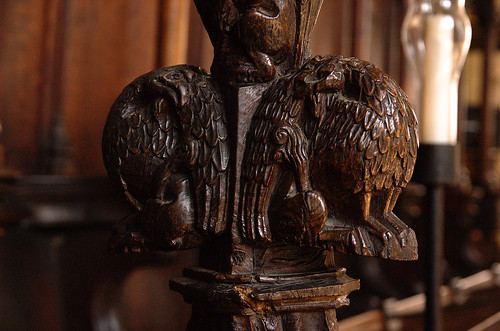 Boston, Lincolnshire, St. Botolph's, choir stalls, finial with hybrid monster, detail