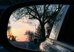 Sunset in the rear-view mirror; shabbat dinner ahead.