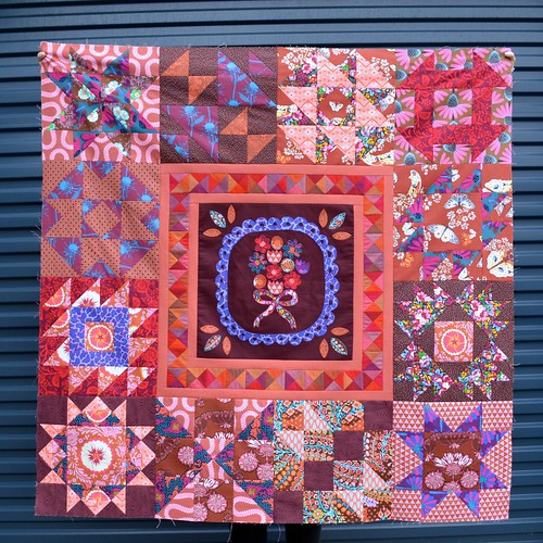 Marsala medallion quilt top