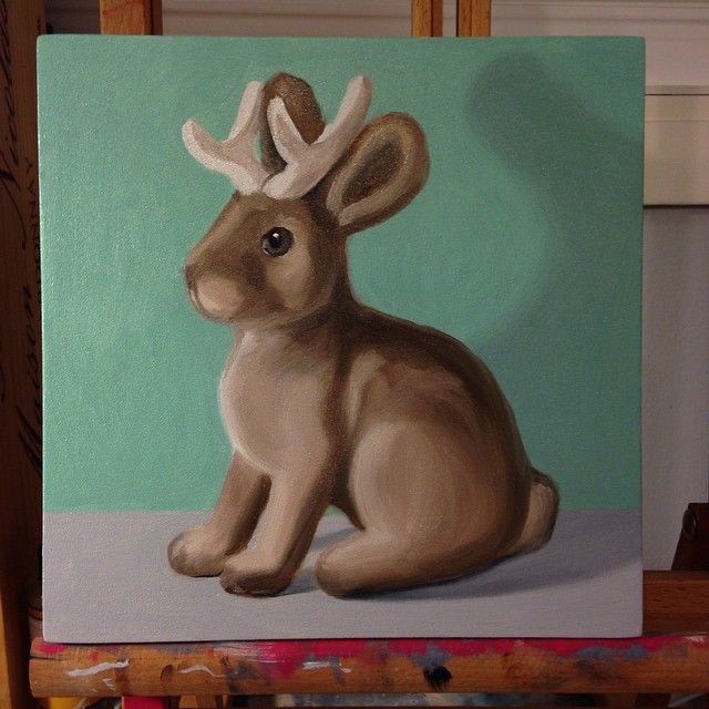 Underpainting on a commissioned piece - flocked jackalope. :)