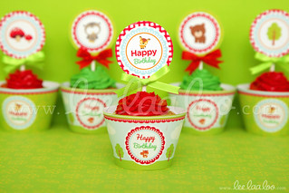 21a - Woodland - Party Circle & Cupcake Wraps - B38