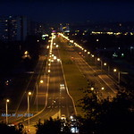 Ulica Milutina Milankovića noću, april 2004 god. Novi Beograd