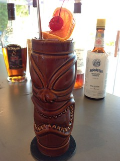 Blackbeard's Ghost (Jeff Berry) with Plantation 3 Stars & El Dorado 8 Demerara rums,  falernum, peach liqueur, orange & lemon juice, Angostura bitters
