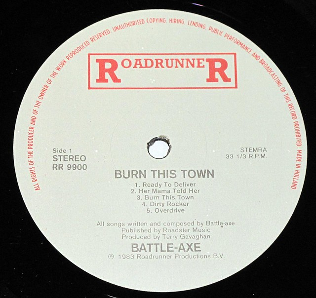 "BATTLEAXE BURN THIS TOWN NWOBHM 12"" VINYL LP"