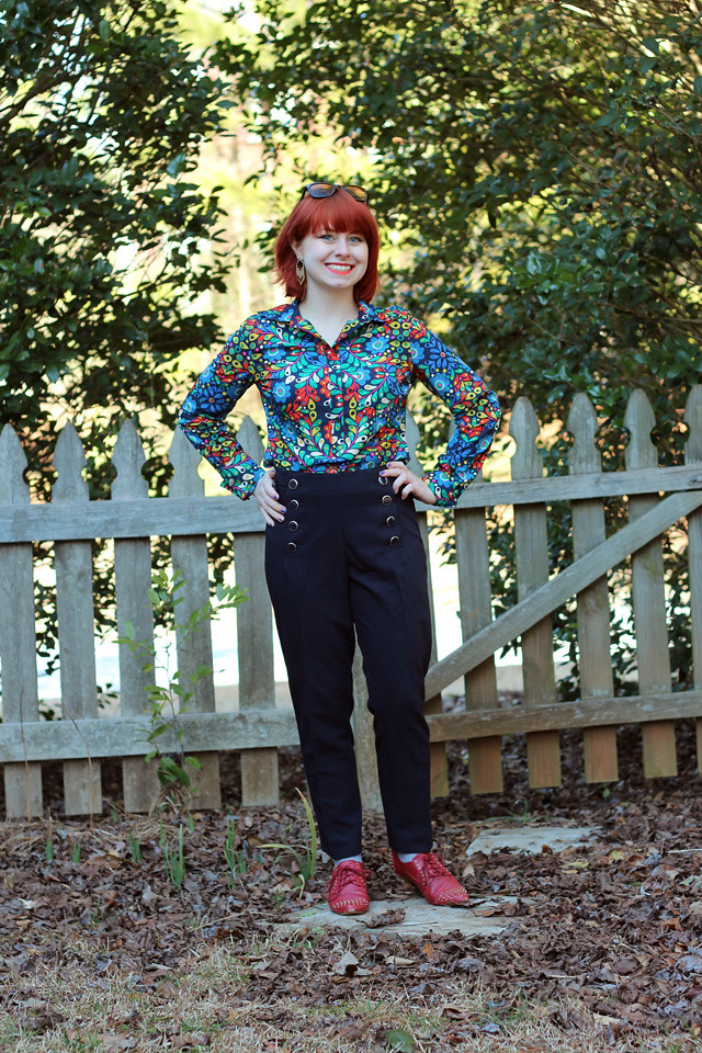 Nautical Style Pants, Red Oxford Flats, and a Retro 60s Pattern Top