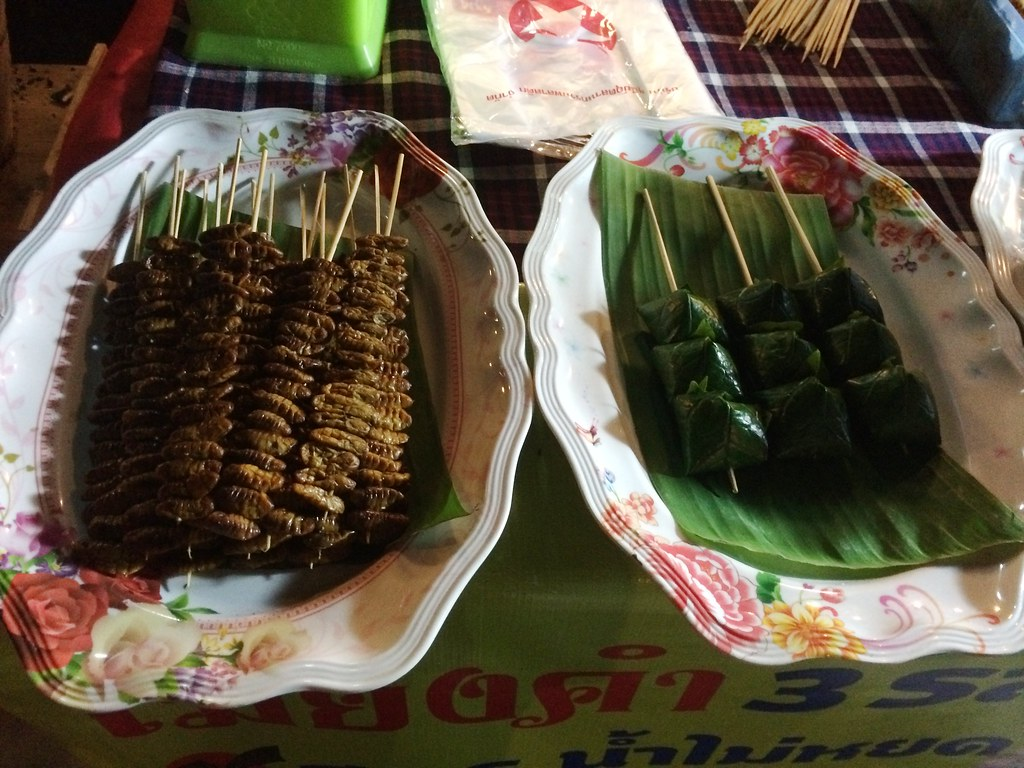 On the Left Are Roasted Silk Worm Cocoons; #TBEX Blogger Preview Trip, Loei Region of Thailand, March 23 - 25, 2015