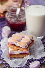 Marshmallow Jam Slices with a Glass of Milk