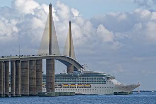 Brilliance of the Seas is halfway under the Sunshine Skyway Bridge, St. Petersburg, Florida