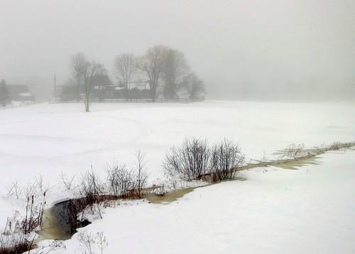 snow fog landscape maine kenebunk