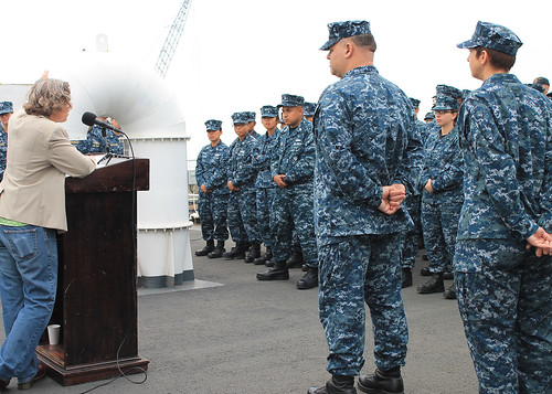 SAN DIEGO - Retired Command Master Chief Kathleen Hansen speaks with the crew of the dock landing ship USS Pearl Harbor (LSD 52) during a Women's History Month celebration.