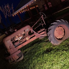 I don't think that tractor is going much of anywhere at all. #flat #tire #rusty