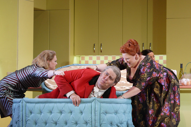 Kai Rüütel as Meg Page, Ambrogio Maestri as Falstaff and Marie-Nicole Lemieux as Mistress Quickly in Falstaff, The Royal Opera © ROH/Catherine Ashmore, 2012