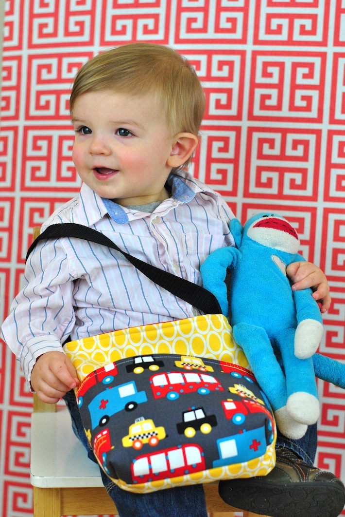 Toddler Boy Tote Bag in Ready Set Go fabric