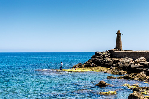 blue sea sky lighthouse nature water rock landscape coast pier seaside nikon rocks outdoor ngc north cyprus shore fisher 1855mm nikkor kyrenia d3200 vrii flickrtravelaward