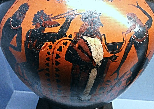 Dionysos with kantharos, vine shoot and three Satyrs - amphora made in Athens from Etruria - Group E (550-525 BC) - Exhibition