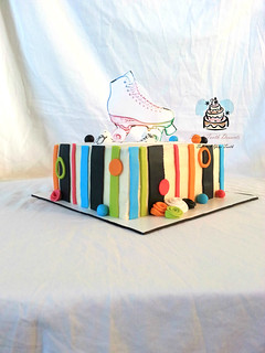 80's Themed Roller Skating Birthday Cake