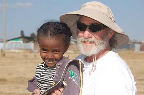 Paul Pedone, a geologist with USDA's Natural Resources Conservation Service, poses for a photo with Zebitt in Debre Birhan, Ethiopia while working on a school construction project with Engineers Without Borders. Photo courtesy of Paul Pedone.