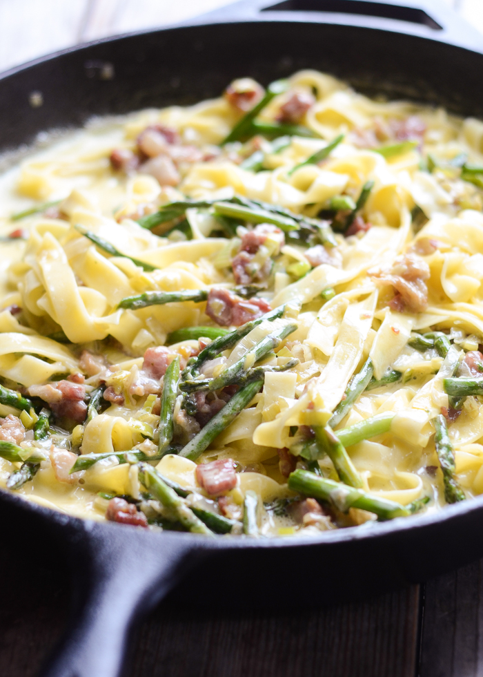 Creamy Leek, Asparagus, and Bacon Tagliatelle / Buttered Side Up