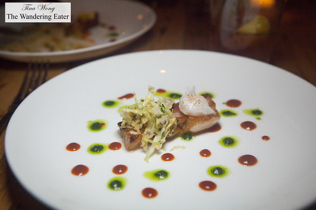 Pork belly, Korean slaw, poached quail egg, dots of herb oil sauce and Korean pepper sauce