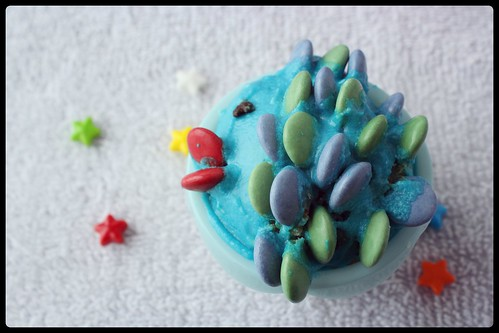 recette cupacakes poisson d'avril vert et bleu