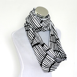 Handmade Beautiful Black and White Striped Infinity Scarf is made from very light and soft cotton fabric