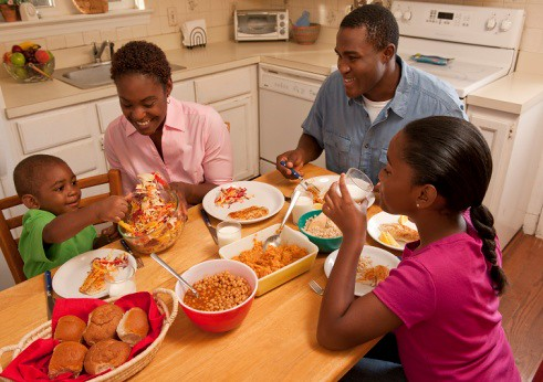 Make meal time a family time by focusing on the meal and each other.