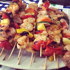 These shrimps were delicious! :rowboat: #foodlover #food #shrimps #brochettes #camarones #ginger #sesame #brochetas #pinchos
