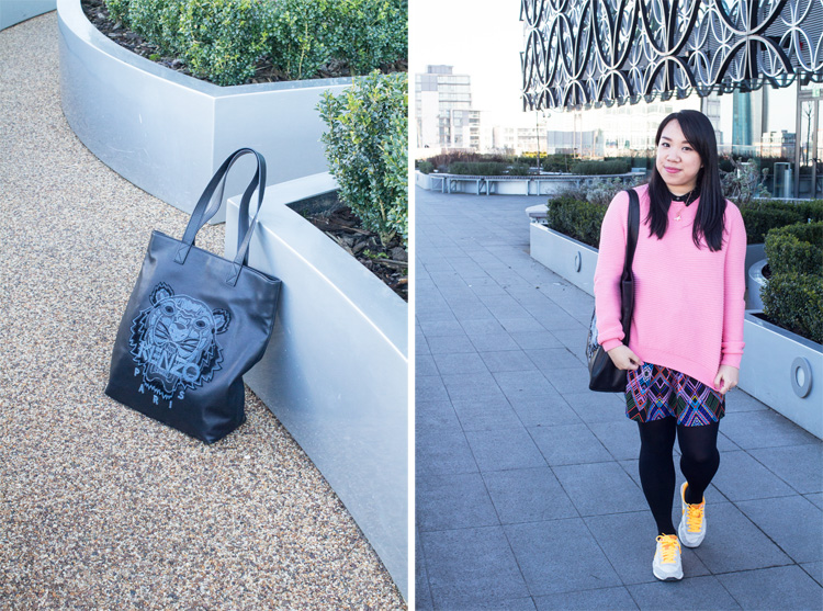 Garden Terrace Outfit Kenzo leather tote bag