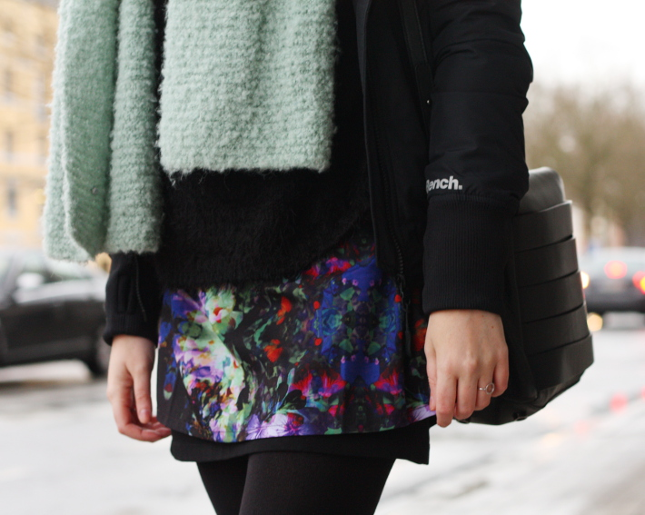 casual outfit: layers, floral skirt, bench jacket