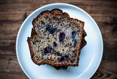 banana and blueberry bread sliced