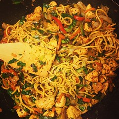 Dinner is served #photography #food #stirfry #chicken #noodles #veggies #wok #lovefood #cooking