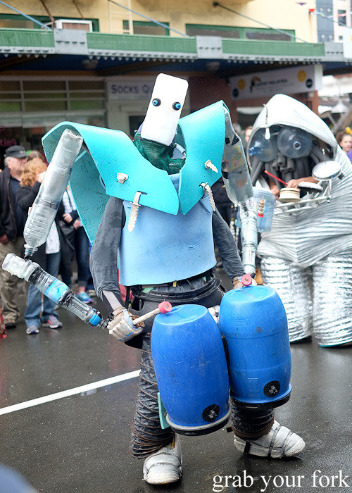 Roving street percussionists with DIY sci-fi costumes at the Cuba Dupa Festival 2015, Wellington