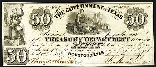AIA24 Lot 177 Government of Texas, 1838 Third Issue