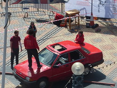 International Dance Festival Birmingham 2016 - Centenary Square - men in red and a red car