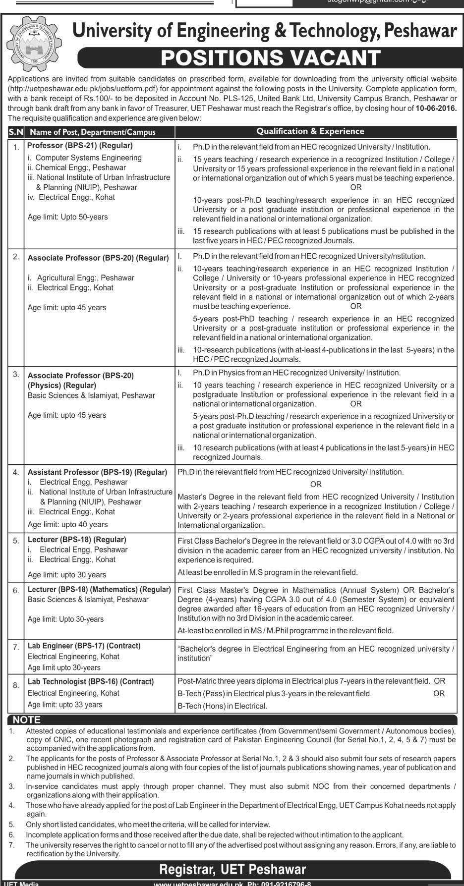 University of Engineering and Technology Peshawar Jobs 2016