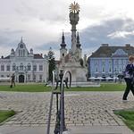 Die Pestsäule auf dem Domplatz (Bildmitte) wurde 1740 von dem Bildhauer Georg Raphael Donner in Wien geschaffen und von Deschan von Hansen aus Dankbarkeit für die überstandene Pestseuche gestiftet.