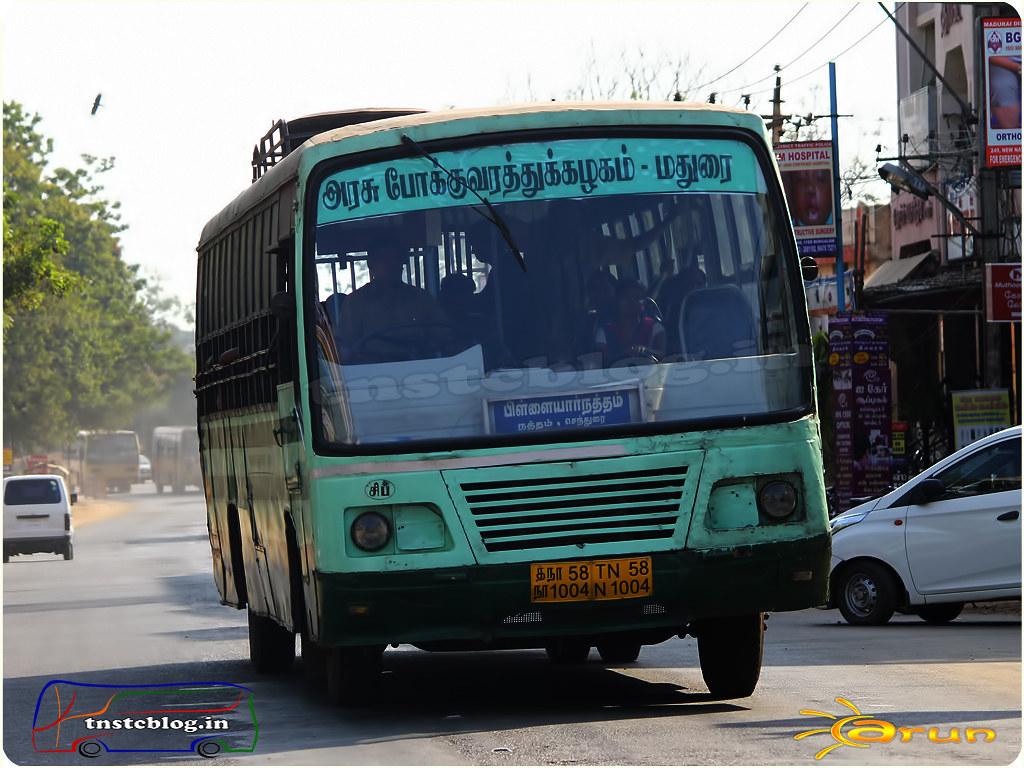 TN-58N-1004 of Sipcot Depot Route Madurai - PillayarNatham via Sathirapatti, Parali, Natham, Sendurai.