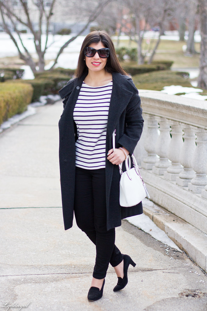 striped shirt, black pants, ferragamo pumps.jpg