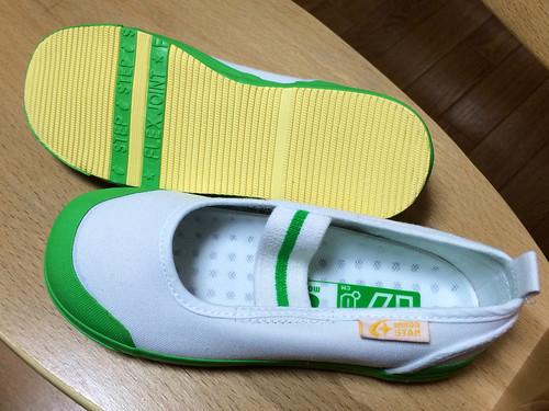 新しい上履き 緑 17cm