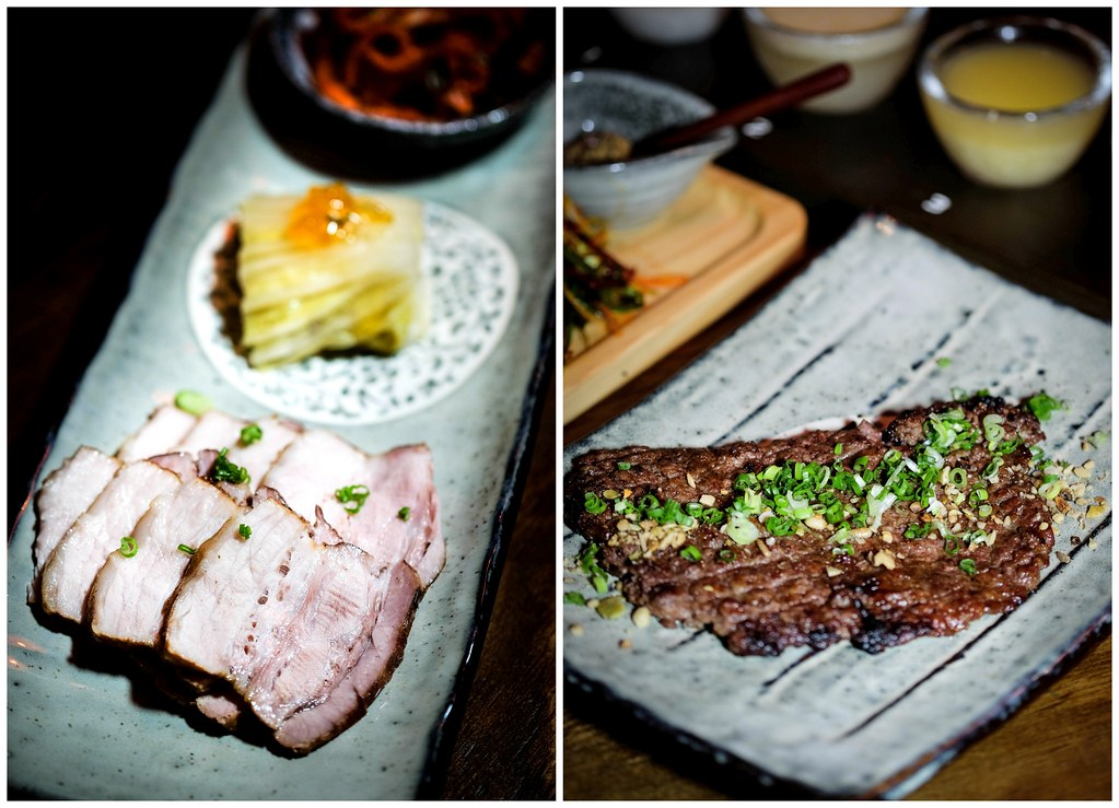 JOO Bar: mangalitsa belly & Hand-chopped Korean minced rib steak